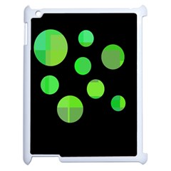 Green Circles Apple Ipad 2 Case (white) by Valentinaart