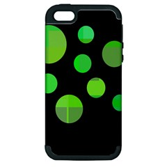 Green Circles Apple Iphone 5 Hardshell Case (pc+silicone) by Valentinaart