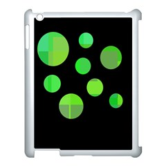 Green circles Apple iPad 3/4 Case (White) by Valentinaart