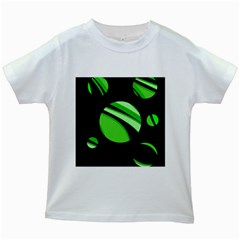 Green Balls   Kids White T Shirts by Valentinaart