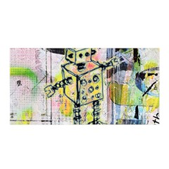 Graffiti Graphic Robot Satin Wrap by ArtistRoseanneJones