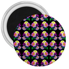 Rosa Yellow Roses Pattern On Black 3  Magnets by Costasonlineshop