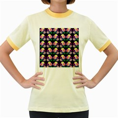 Rosa Yellow Roses Pattern On Black Women s Fitted Ringer T-Shirts by Costasonlineshop