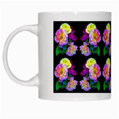 Rosa Yellow Roses Pattern On Black White Mugs by Costasonlineshop
