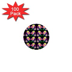 Rosa Yellow Roses Pattern On Black 1  Mini Magnets (100 Pack)