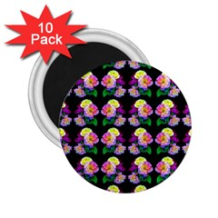 Rosa Yellow Roses Pattern On Black 2 25  Magnets (10 Pack)