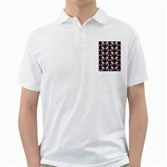 Rosa Yellow Roses Pattern On Black Golf Shirts
