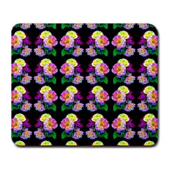 Rosa Yellow Roses Pattern On Black Large Mousepads