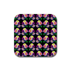 Rosa Yellow Roses Pattern On Black Rubber Square Coaster (4 Pack)  by Costasonlineshop