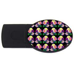 Rosa Yellow Roses Pattern On Black Usb Flash Drive Oval (2 Gb)