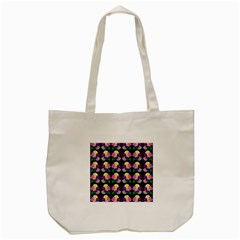 Rosa Yellow Roses Pattern On Black Tote Bag (cream) by Costasonlineshop