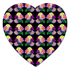 Rosa Yellow Roses Pattern On Black Jigsaw Puzzle (heart)