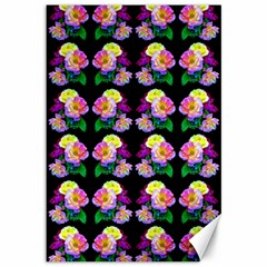 Rosa Yellow Roses Pattern On Black Canvas 12  X 18