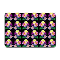 Rosa Yellow Roses Pattern On Black Small Doormat  by Costasonlineshop