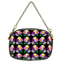 Rosa Yellow Roses Pattern On Black Chain Purses (two Sides)  by Costasonlineshop