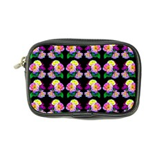 Rosa Yellow Roses Pattern On Black Coin Purse by Costasonlineshop