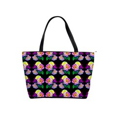Rosa Yellow Roses Pattern On Black Shoulder Handbags by Costasonlineshop