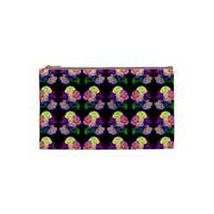 Rosa Yellow Roses Pattern On Black Cosmetic Bag (small)  by Costasonlineshop