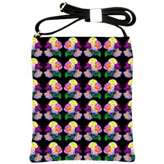 Rosa Yellow Roses Pattern On Black Shoulder Sling Bags by Costasonlineshop