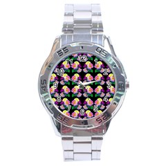 Rosa Yellow Roses Pattern On Black Stainless Steel Analogue Watch by Costasonlineshop