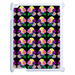 Rosa Yellow Roses Pattern On Black Apple Ipad 2 Case (white) by Costasonlineshop