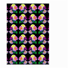 Rosa Yellow Roses Pattern On Black Small Garden Flag (two Sides) by Costasonlineshop