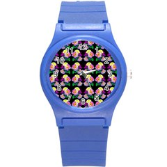Rosa Yellow Roses Pattern On Black Round Plastic Sport Watch (s) by Costasonlineshop