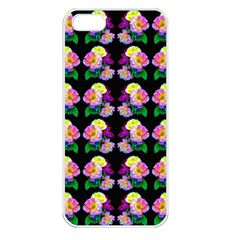 Rosa Yellow Roses Pattern On Black Apple Iphone 5 Seamless Case (white)