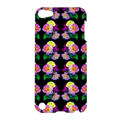 Rosa Yellow Roses Pattern On Black Apple Ipod Touch 5 Hardshell Case by Costasonlineshop