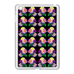 Rosa Yellow Roses Pattern On Black Apple Ipad Mini Case (white) by Costasonlineshop