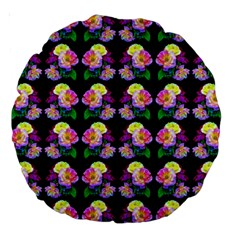 Rosa Yellow Roses Pattern On Black Large 18  Premium Round Cushions