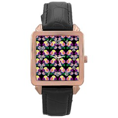 Rosa Yellow Roses Pattern On Black Rose Gold Leather Watch  by Costasonlineshop