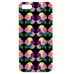 Rosa Yellow Roses Pattern On Black Apple Iphone 5 Hardshell Case With Stand by Costasonlineshop