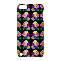 Rosa Yellow Roses Pattern On Black Apple Ipod Touch 5 Hardshell Case With Stand by Costasonlineshop