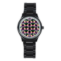 Rosa Yellow Roses Pattern On Black Stainless Steel Round Watch by Costasonlineshop
