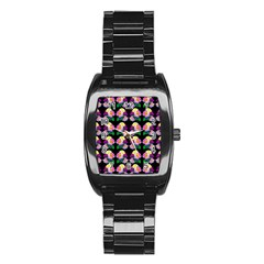 Rosa Yellow Roses Pattern On Black Stainless Steel Barrel Watch by Costasonlineshop