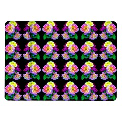 Rosa Yellow Roses Pattern On Black Samsung Galaxy Tab 10 1  P7500 Flip Case