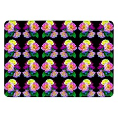 Rosa Yellow Roses Pattern On Black Samsung Galaxy Tab 8 9  P7300 Flip Case by Costasonlineshop