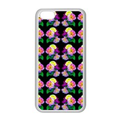 Rosa Yellow Roses Pattern On Black Apple Iphone 5c Seamless Case (white)