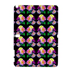 Rosa Yellow Roses Pattern On Black Samsung Galaxy Note 10 1 (p600) Hardshell Case by Costasonlineshop