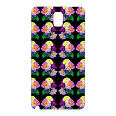 Rosa Yellow Roses Pattern On Black Samsung Galaxy Note 3 N9005 Hardshell Back Case