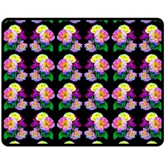 Rosa Yellow Roses Pattern On Black Double Sided Fleece Blanket (medium)  by Costasonlineshop