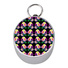 Rosa Yellow Roses Pattern On Black Mini Silver Compasses by Costasonlineshop