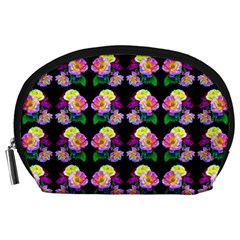 Rosa Yellow Roses Pattern On Black Accessory Pouches (large)  by Costasonlineshop