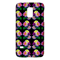 Rosa Yellow Roses Pattern On Black Galaxy S5 Mini by Costasonlineshop