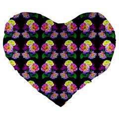 Rosa Yellow Roses Pattern On Black Large 19  Premium Flano Heart Shape Cushions