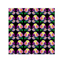 Rosa Yellow Roses Pattern On Black Small Satin Scarf (square)