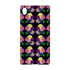 Rosa Yellow Roses Pattern On Black Sony Xperia Z3+ by Costasonlineshop