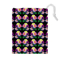 Rosa Yellow Roses Pattern On Black Drawstring Pouches (extra Large)