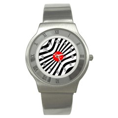 Abstract Red Ball Stainless Steel Watch by Valentinaart